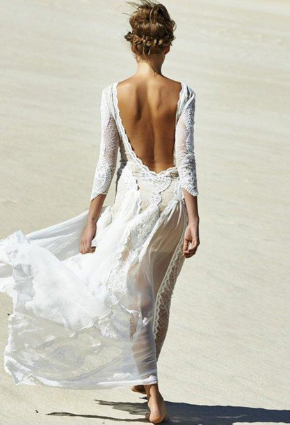 dress wedding dress beach hipster wedding beach wedding
