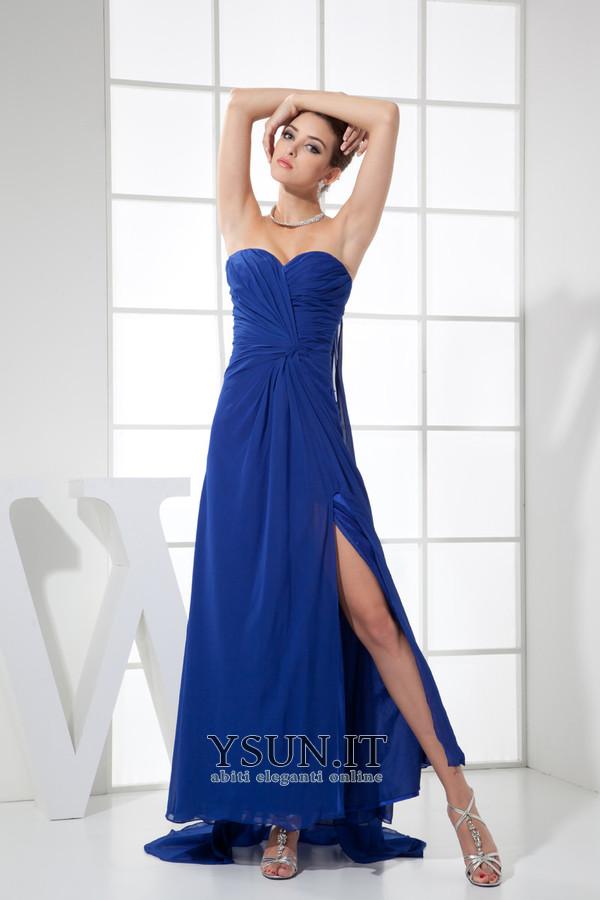 alta qualità prezzi al dettaglio ineguagliabile nelle prestazioni Vestito blu elettrico Pieghe Una linea pavimento lunghezza