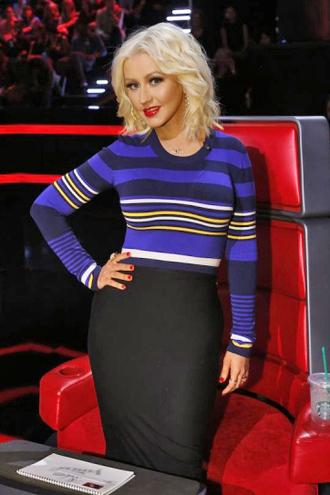 top sweater stripes christina aguilera