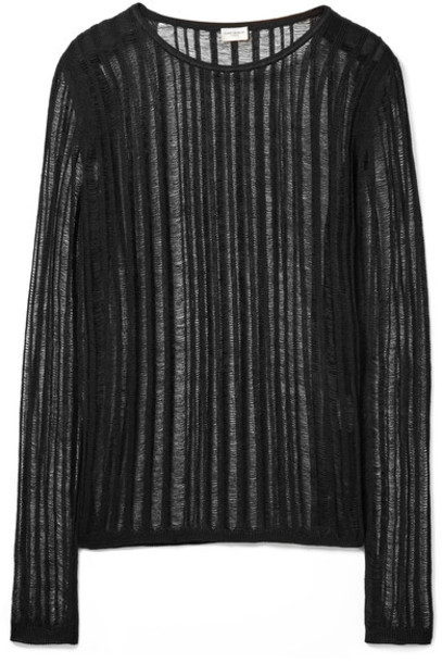 Saint Laurent top open black silk knit