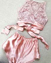pajamas,pink satin shorts,pink satin,it's lace soft pink lingerie,lingerie halter,lingerie,underwear,pink,lace,beautiful,silk,pink lace,pink lingerie,top,set,satin,nightwear,twitter,pastel