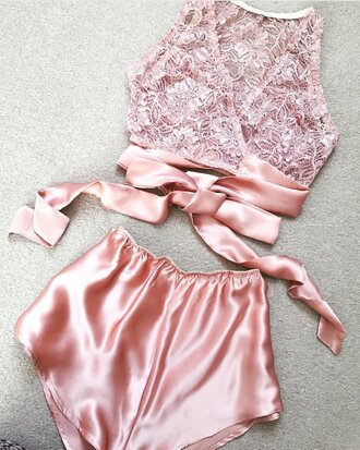 pajamas pink satin shorts pink satin it's lace soft pink lingerie lingerie halter lingerie underwear pink lace beautiful silk pink lace pink lingerie top set satin nightwear twitter pastel