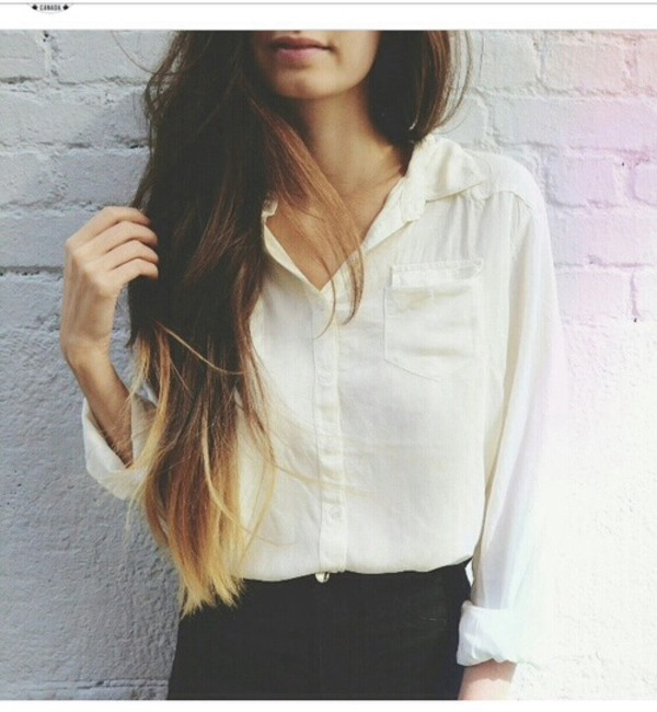 blouse shirt ombre hair jeans girly hipster