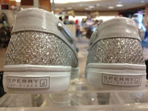 shoes, sperry, silver glitter, glitter
