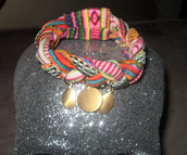 jewels,tribal pattern,gold,coins,spandex,bracelets,jewelry,multi,braided