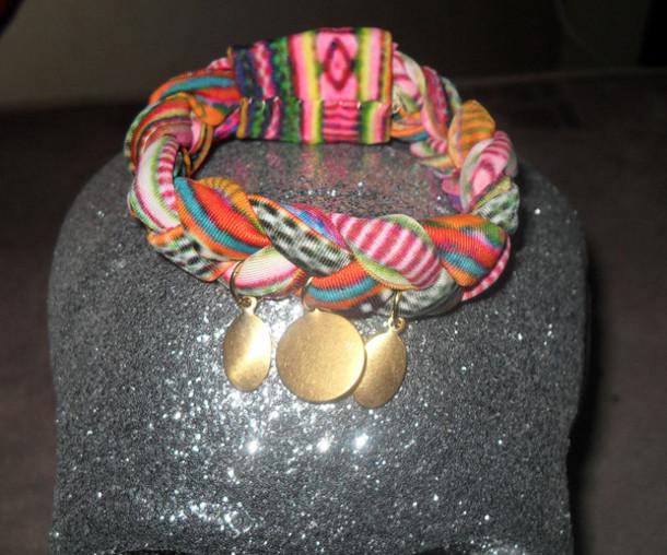 jewels tribal pattern gold coins braid spandex bracelets jewelry multi