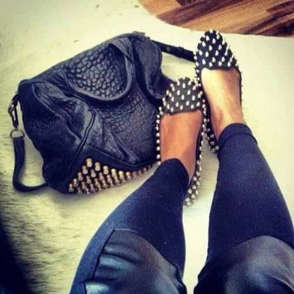black leather bag spiked leather