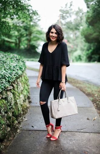 life & messy hair blogger top jeans bag shoes black top peplum top three-quarter sleeves black jeans black ripped jeans ripped jeans white bag prada prada bag handbag sandals red sandals sandal heels high heel sandals