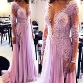 dress,pink dress,long-sleeves prom dress