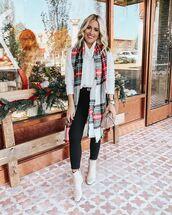 scarf,plaid,white boots,black jeans,handbag,white sweater,watch