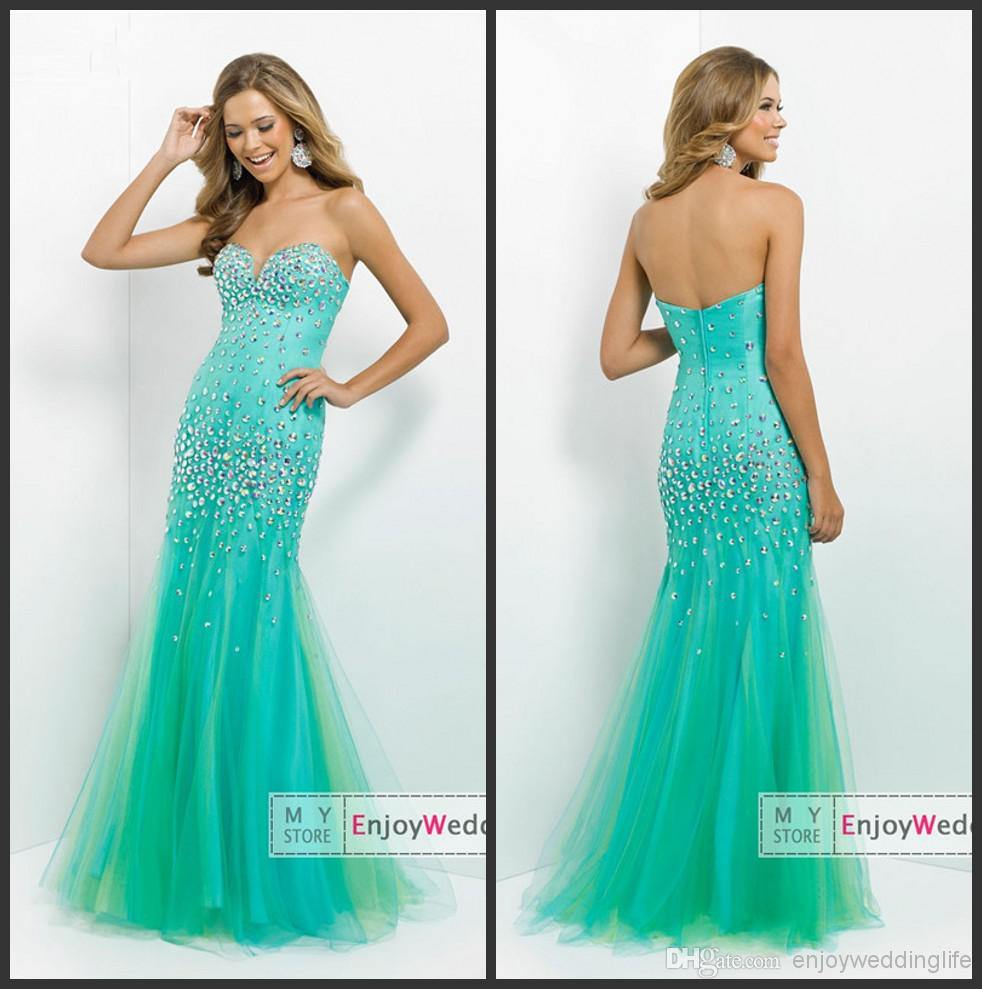 Cheap 2014 Prom Dresses - Discount 2014 New Sexy Sweetheart Tulle Mermaid Prom Dresses Rhinestones Beaded Floor Length Evening Gowns Bl36498 Online with $129.84/Piece | DHgate
