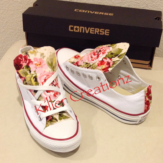 Custom Converse low tops with floral print ANY от KillerCreationz