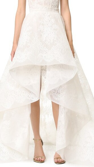 skirt cameo white silk
