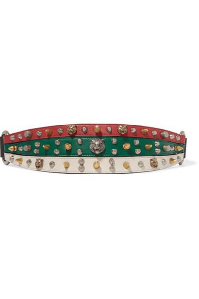 Gucci - Embellished Leather Waist Belt - Red