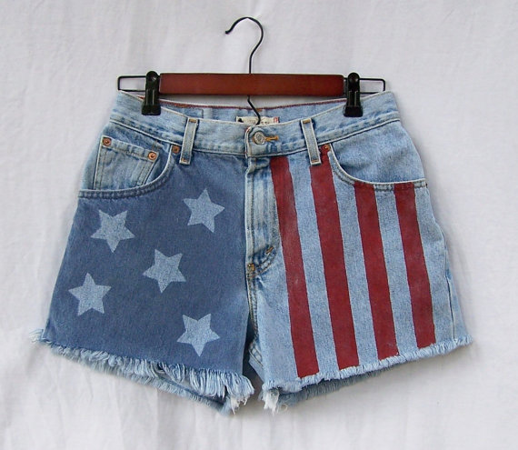 American flag shorts / vintage levis 550 cut offs by gloriousmorn