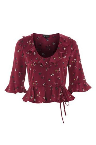 blouse print burgundy top