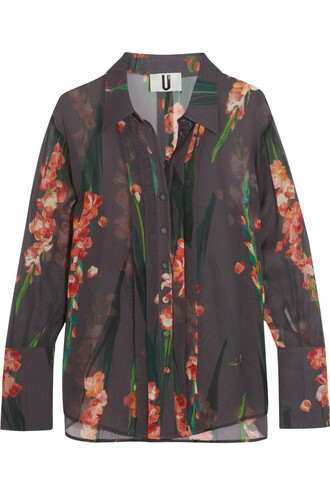 shirt floral print silk charcoal red top