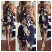 dress,high low dress,floral,wrap dress,midi,navy dress,floral wrap dress