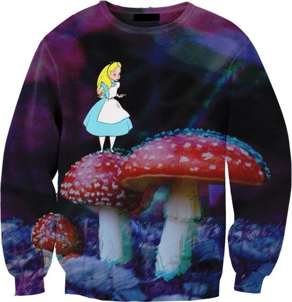 sweater alice in wonderland crewneck swag hat mushrooms jacket top jumper disney sweater pullover blanc rouge violet bleu coat
