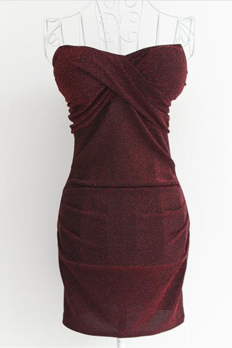 Dark Red Collarless Sleeveless Slim One-piece Dress,Cheap in Wendybox.com