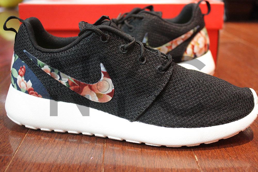429dc609756b Nike Roshe Run Black Anthracite Asian Garden Floral Print Custom