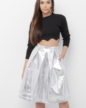 skirt,midi,midi skirt,silver,silver skirt,metallic,metallic skirt,vegan,vegan leather,vegan leather skirt
