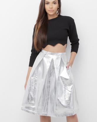 skirt midi midi skirt silver silver skirt metallic metallic skirt vegan vegan leather vegan leather skirt