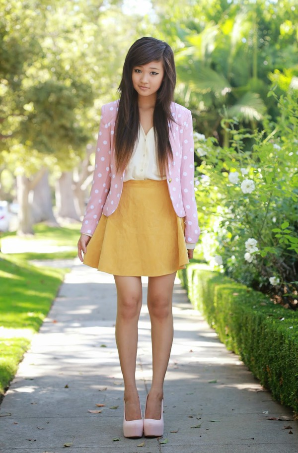 a flower child jacket blouse skirt shoes