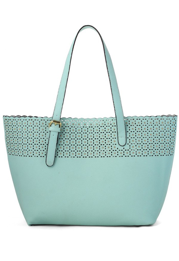 bag chicwish scrolled cut-out twinset handbag pastel blue pastel bag