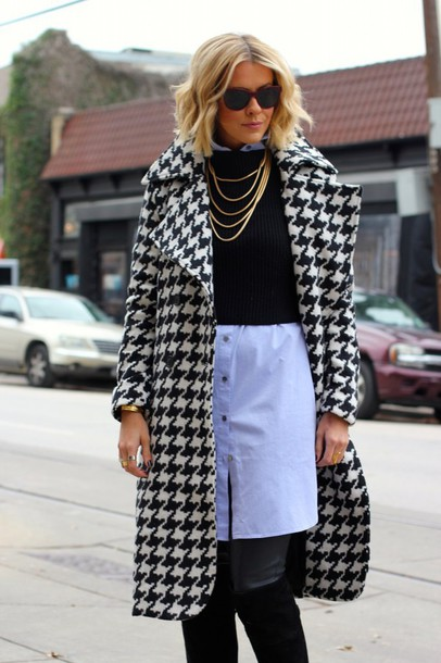 the courtney kerr blogger dress houndstooth blue shirt coat necklace