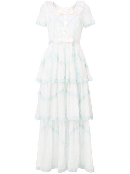 Alessandra Rich dress bow long women white silk