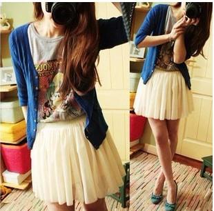 Free shipping 2013 summer basic tulle princess chiffon short skirt white skirt  sweet bust skirt  gauze skirt