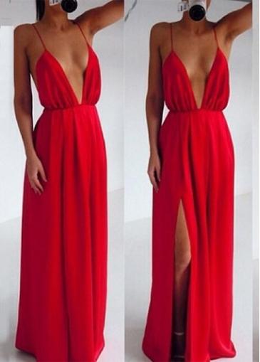 Attractive strap design v neck red maxi dress