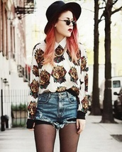 blouse,le happy,streetwear,denim,shorts,ripped shorts,vintage,blogger,streetstyle,outfit,hipster,alternative