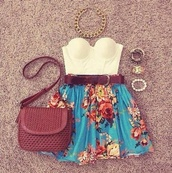 tank top,skirt,jewels,white,crop tops,chain,necklace,belt,bag,strapless top,blue skirt,floral,brown belt,casual,gold,big necklace,brown bag,details,braided,shirt