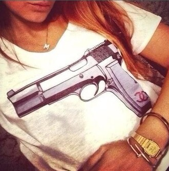 t-shirt gun gun top t-shirt dress tshirts chanel top guns and roses dress summer outfits bang bang white watch jewels jewerly print shirt luxury
