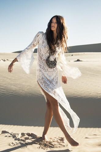 white dress summer dress slit dress boho boho dress lace dress coin necklace cover up romantic summer dress white lace dress