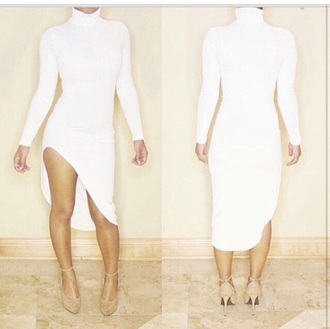 dress high heels heels white dress turtleneck long dress slit dress long sleeve dress long sleeves beige shoes shoes