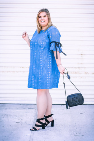 stylishsassy&classy blogger dress shoes bag blue dress high heel sandals sandals gucci bag gucci spring outfits plus size