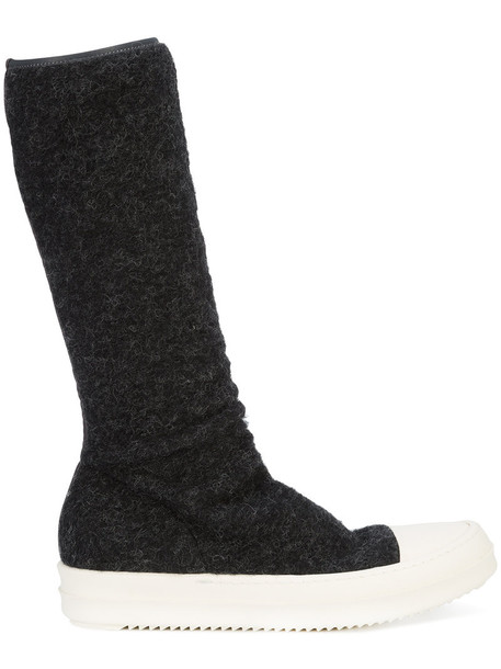Rick Owens DRKSHDW sock boots women black wool shoes