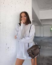 bag,backpack,louis vuitton,sweater dress,casual