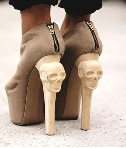 shoes sipper skull brown high heels skull high heels brown ankle boots boots beige booties shinny heels, skull heels,pump shoes,platform heels, glitter shoes, fashion, celebrity.