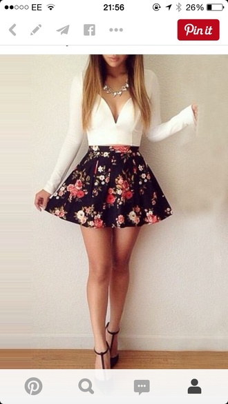 skirt flower skirt black skirt