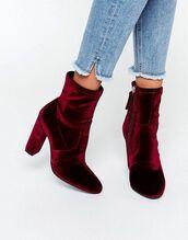 shoes,velvet,boots,high heel,burgundy,rose gold,ankle boots