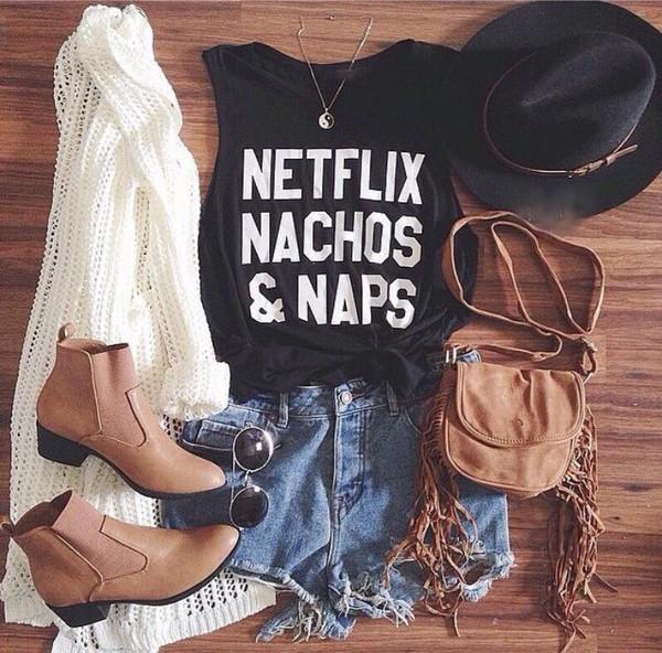 blouse shorts shirt boots sunglasses cardigan hat fringed bag