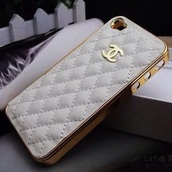 phone cover,iphone 5 case,beige,chanel,gold,white,pattern,fashion
