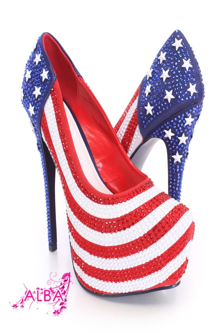 American Flag Pattern Rhinestone Pump Heels Fabric