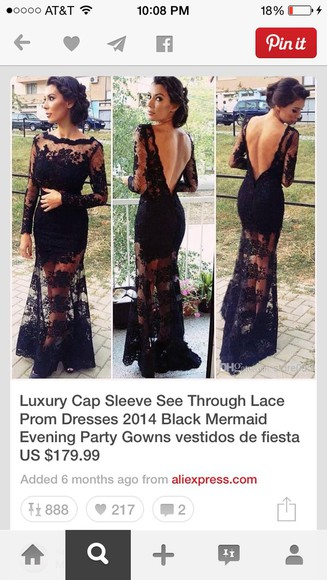 prom gown formal lance banquet long pinterest black lace dress see through shirt