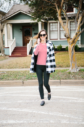 side smile style,blogger,coat,gingham,striped top,slippers,t-shirt,pants,shoes,sunglasses