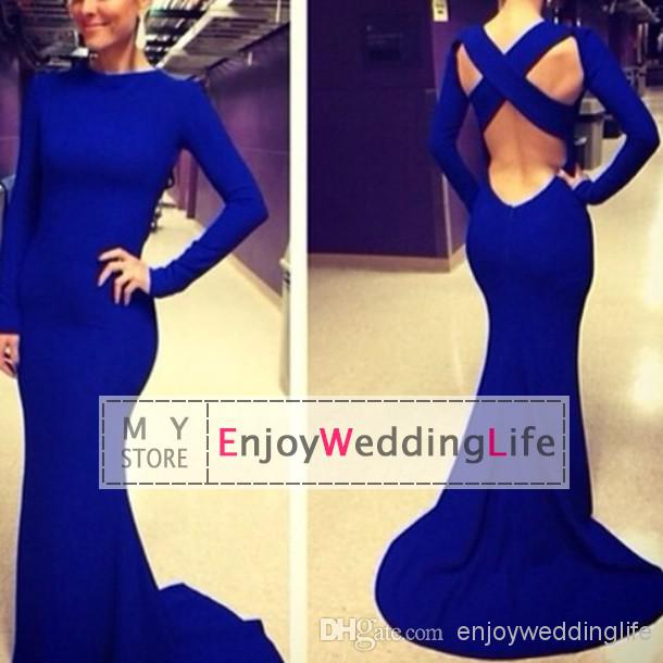 Cheap Wedding Decorations - Discount Sleeves Jersey Mermaid Prom Dresses Floor Length Backless Online with $93.49/Piece | DHgate